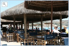 Beach bar between port and beach