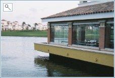 Restaurant overlooking golf course