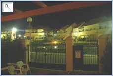 night time overlooking gardens. totally secure gated area