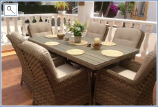 recently purchased dining furniture for front terrace.