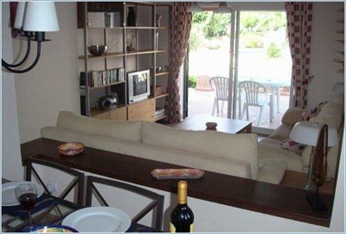 View through lounge onto terrace