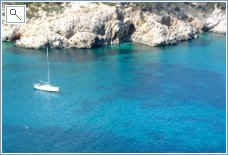 Sailboat in Ibiza's coastline