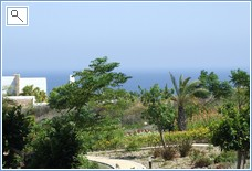 view from terrace over gardens towards sea