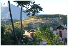 view from terrace to mountains