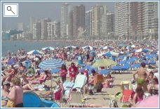 The Busy beaches of Benidorm
