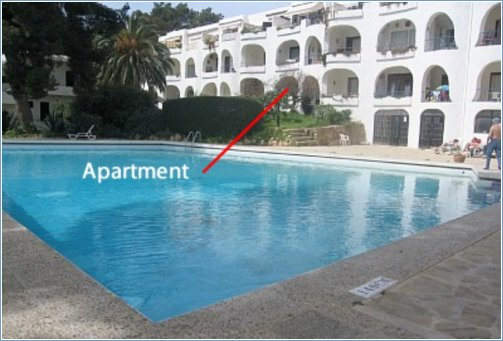 Arrow indicates - Groundfloor Poolside Location