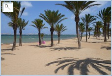 Beach with La Manga Strip View