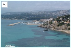 View of Moraira and Moraira harbour from el Portet,