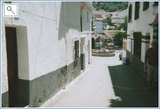 Narrow streets of village centre.