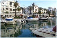 A futher view of the port with restaurants and bars