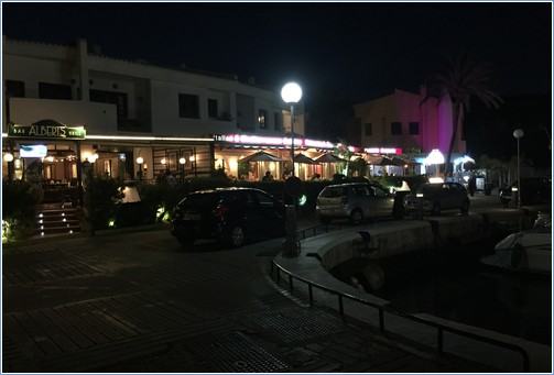 Port and restaurants at night