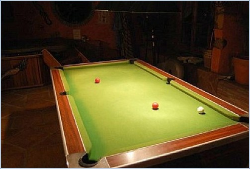 Pool table at night