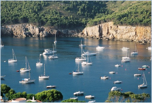Beautiful view of Cala Montgo from the terrace