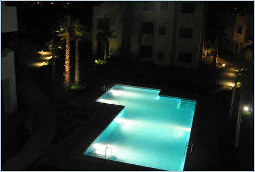 View of pool at nigth