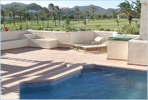 private pool with views over golf course