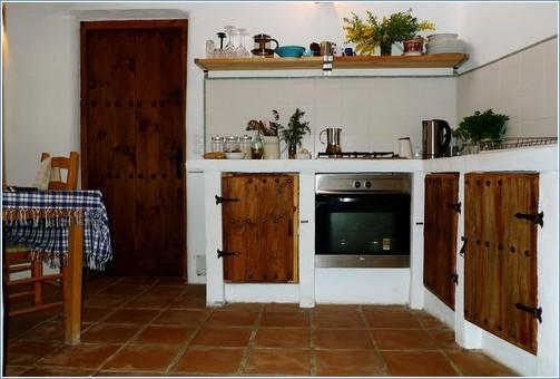 Kitchen with log burner