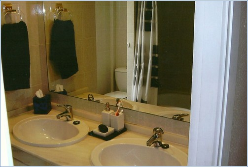 bathroom. twin sinks. bath. over bath shower. washer