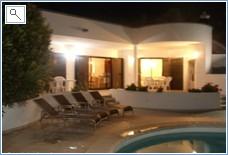 Villa + terracing at night