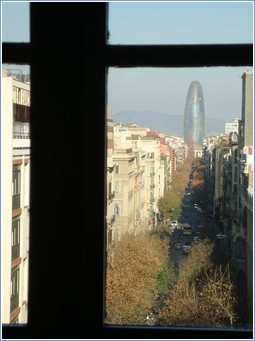 View of the famous Agbar Tower by Jean Nouvel - from studio