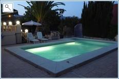 Swimming pool at dusk.
