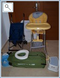 2 Highchairs, 2 cotbeds, stroller, etc