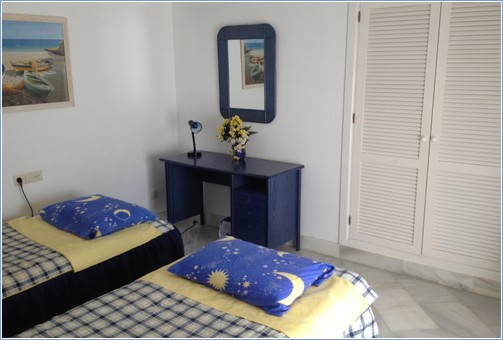 Small twin room, seperate bathroom across hall