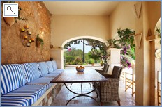 Covered poolside arched terrace