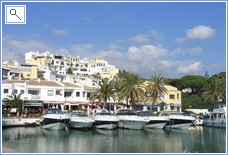 Cabopino harbour with its restaurants and bars
