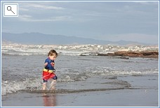 The sand beach 5 min walk away