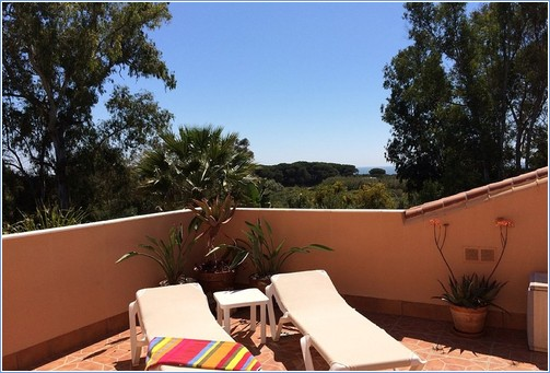 View of dunes & sea from main terrace