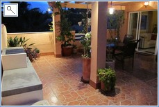 Main terrace at night with BBQ