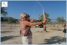 Rose, trying out the archery at La Roufette