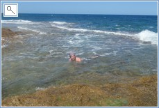 Me snorkling of the rocks