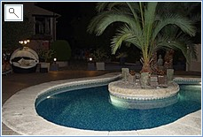 Gardens and swimming pool at night.