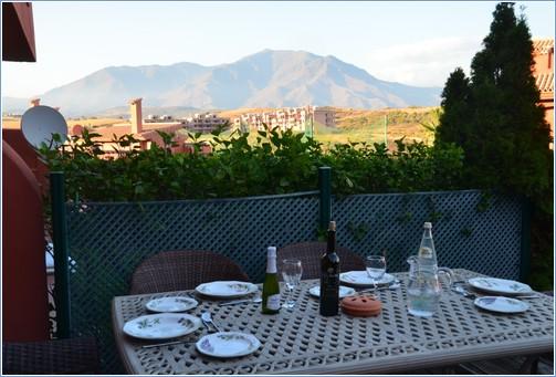 Rear Terrace/ Garden with evening mountain view